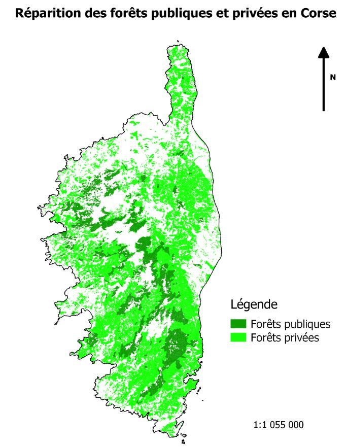 Répartition forêt publique et privée en Corse